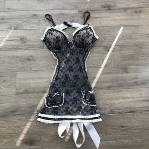 Victoria's Secret Floral Lace Backless slips bow